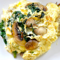 NUT-FREE BREAKFAST: Spinach, Mushroom and Mozzarella Omelet